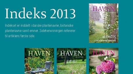 Artikelindeks for magasinet HAVEN 2013
