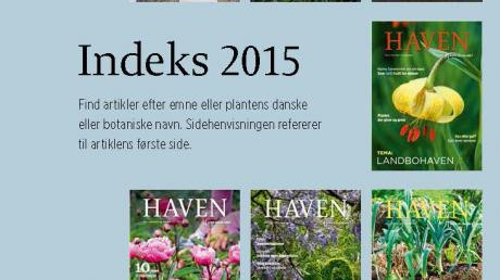 Artikelindeks for magasinet HAVEN 2015